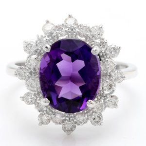 4.60 Carat Natural Amethyst and Diamonds Ring